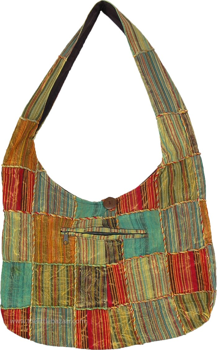 Green Patchwork Cotton Handbag with Front Zipper Pocket