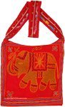 Turkish Sinopia Red Bag with Traditional Embroidered Elephant