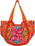 Orange Embroidered Tote Bag in Cotton with Mirrors