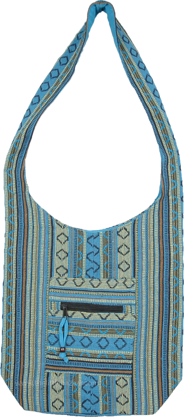 Turquoise Color Hippie Style Ikat Weave Boho Shoulder Bag
