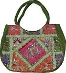 Sequined Green Shoulder Bag