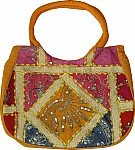 Mustard Patchwork Sequined Purse Bag