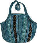 Ethnic Turquoise Cotton Boho Shoulder Tote