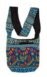 Blue Embroidered Cotton Sling Hobo Bag