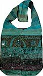 Blue Green Velvet Bohemian Bag