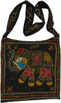 Black Gold Boho Cross Body Bag with Elephant Embroidery