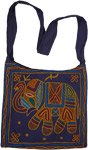 Blue Tribal Cross Body Bag with Elephant Embroidery