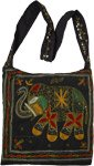Embroidered Elephant Black Cross Body Boho Bag