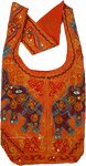 Ethnic Embroidered Elephant Orange Gold Handbag