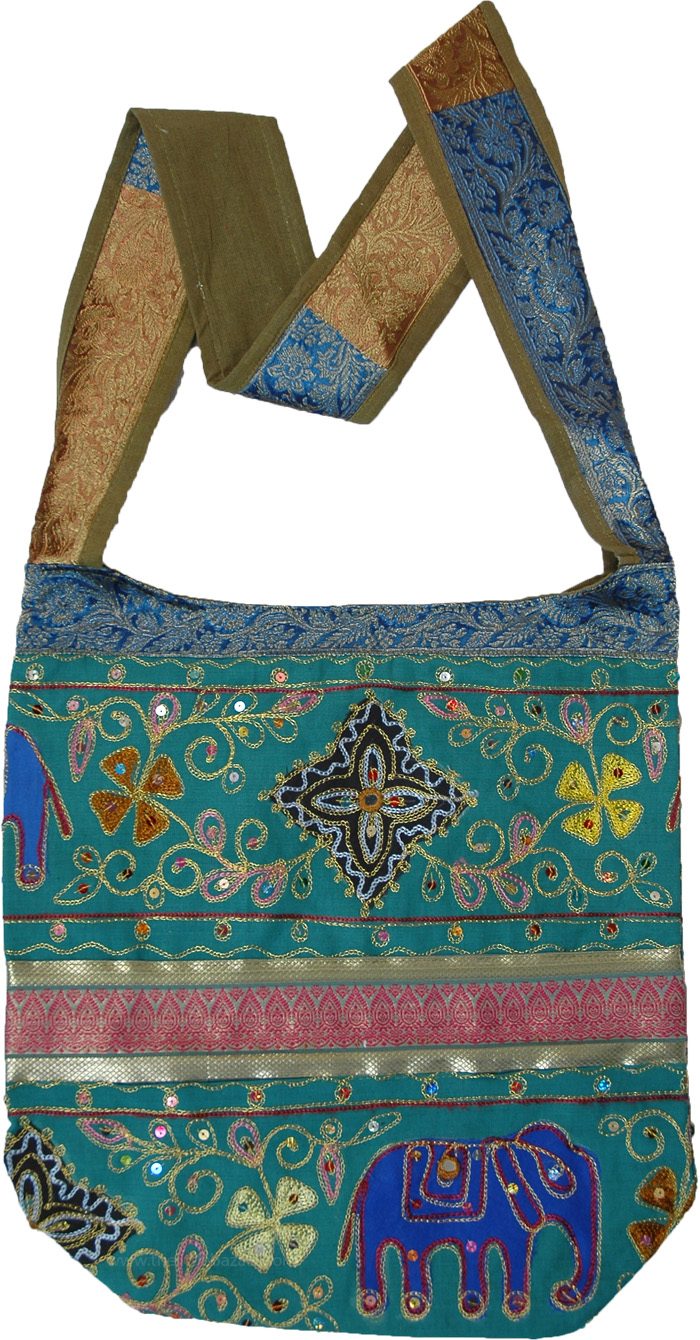 Zari and Thread Embroidery Aqua Green Hippie Bag
