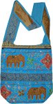 Malibu Blue Boho Cross Body Bag with Sequin Accents