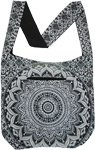 Black and White Mandala Print Cotton Shoulder Bag