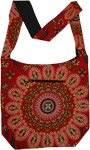 Ethnic Mandala Print Red Cotton Shoulder Bag