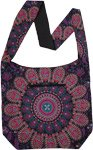 Mandala Print Cotton Shoulder Bag in Purple