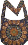 Boho Navy Cotton Shoulder Bag with Mandala Print