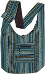 Aqua Hippie Ikat Weave Boho Shoulder Bag