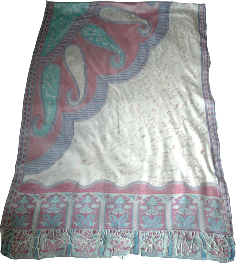 Paisley Printed and Embroidered Shawl, Paisley Embroidered Shawl