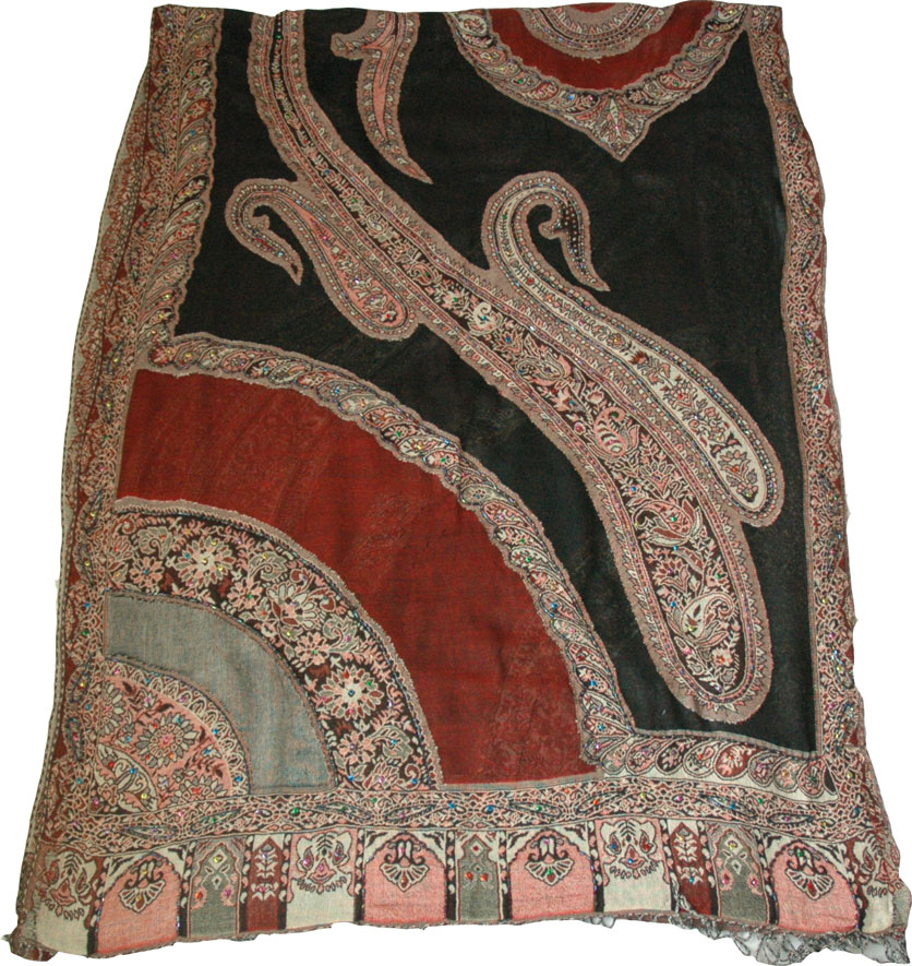 Indian wedding shawl in black red with sequins, Black Paisley Challis Shawl Stole with Sequin