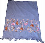 Blue Shawl with Embroidery