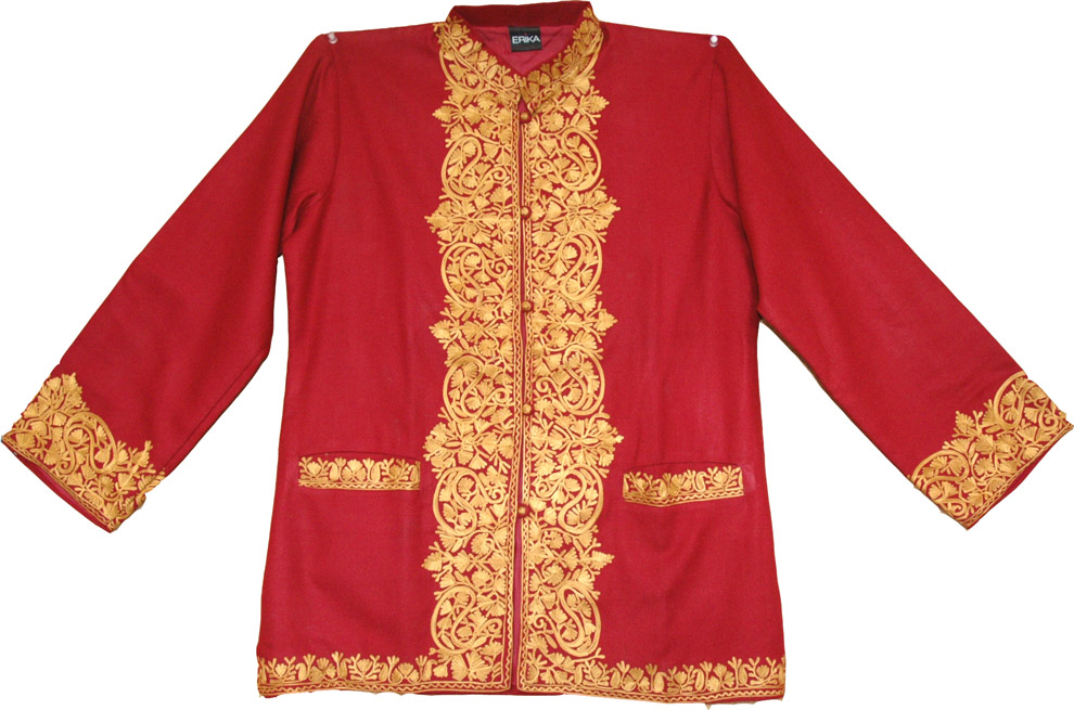 Warm coat with Embroidery, Embroidered Wool Coat in Cardinal