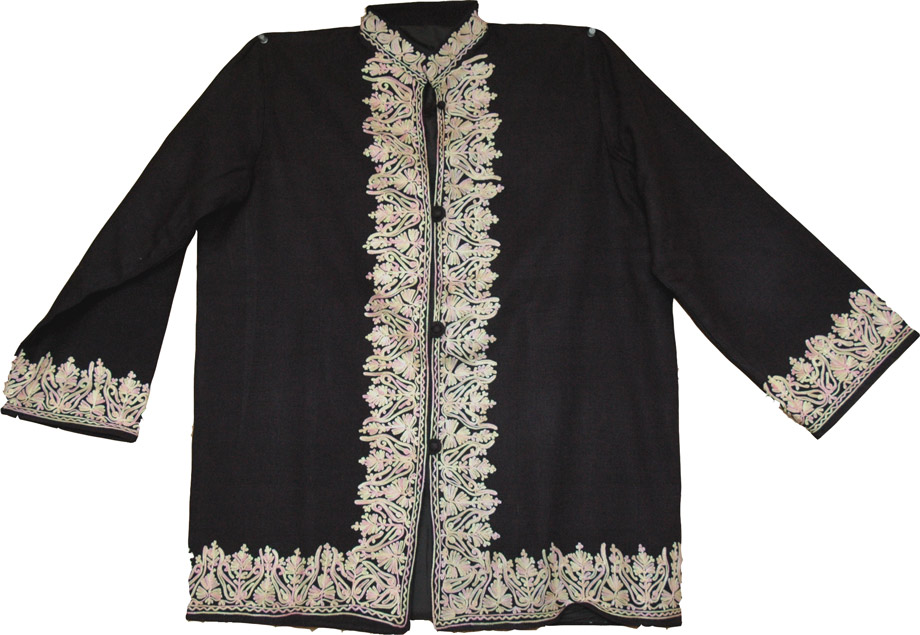 Wool Coat from Kashmir, Black Wool Coat with Embroidery