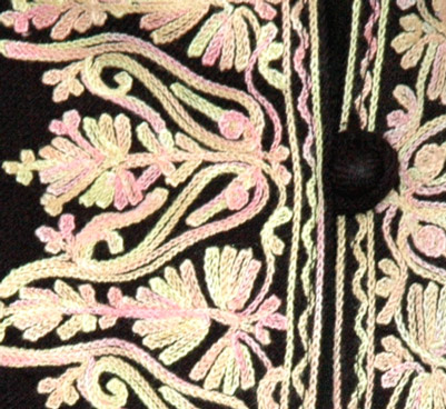 Black Wool Coat with Embroidery