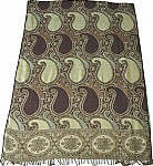 Green Brown Reversible Jamawar Stole