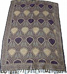Purple Golden Reversible Jamawar Stole