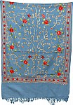 Hippie Blue Embroidered Stole
