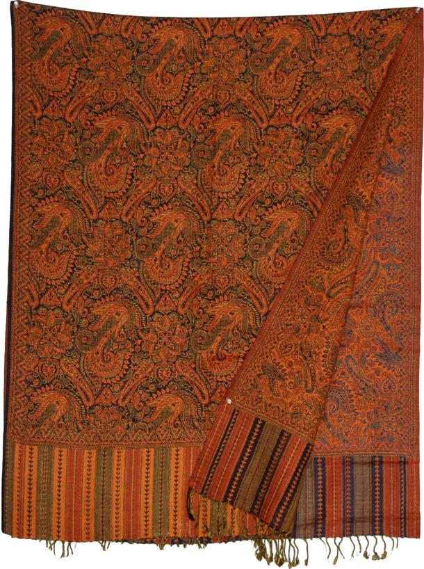 Jamawar shawl with orange, Black Orange Reversible Jamawar Shawl