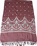 Wine Color Printed Shawl Wrap Stole