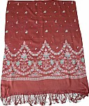 Red Stole Shawl with Floral Print