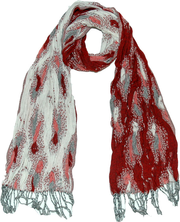 Reversible Red White Scarf Shawl, Mexican Red Fashion Scarf