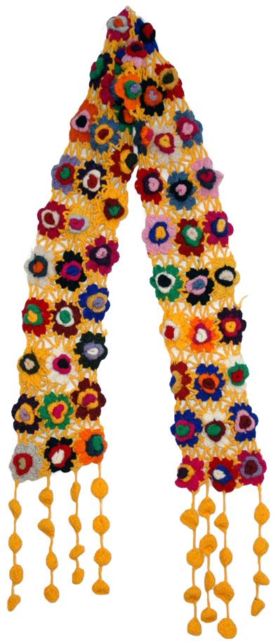 Crochet Flowers Yellow Scarf, Charmian Crochet Wool Scarf