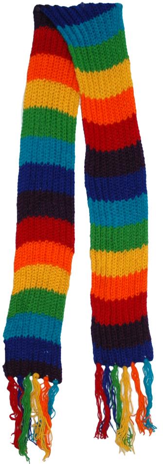 Multicolor Woolen Muffler, Rainbow Bohemian Wool Scarf