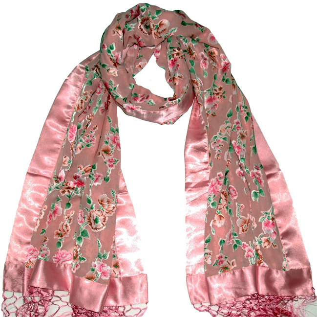 Embossed Silk Pink Scarf Shawl, Satin Pink Delight Fringed Scarf