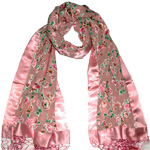 Embossed Silk Pink Scarf Shawl [2544]