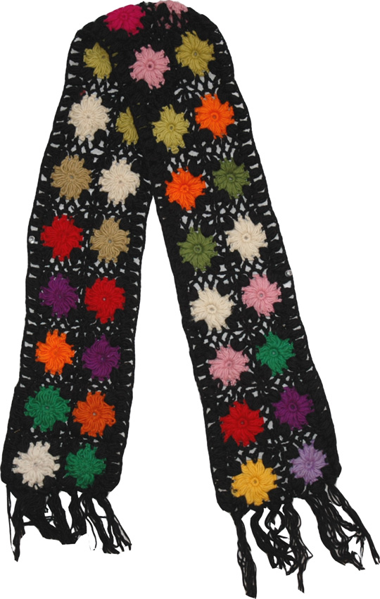 Crochet Flowers Black Woolen Muffler, Black Crochet Fashion Scarf