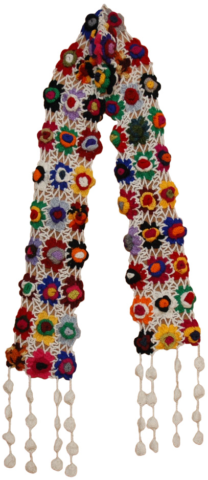 Crochet Flowers White Woolen Muffler, White Crochet Colorful Floral Scarf