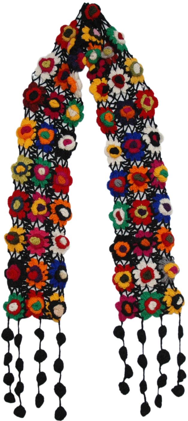 Crochet Flowers Black Woolen Muffler, Black Crochet Colorful Floral Scarf