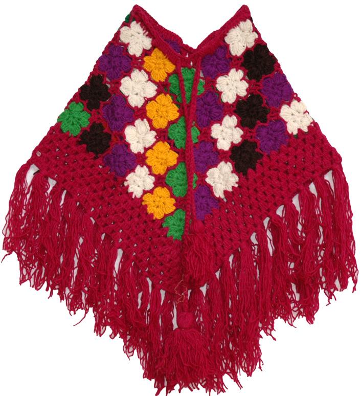 Crochet Wool Maroon Poncho, Shiraz Pink Wool Crochet Poncho