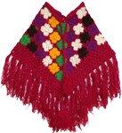 Crochet Wool Maroon Poncho [2572]