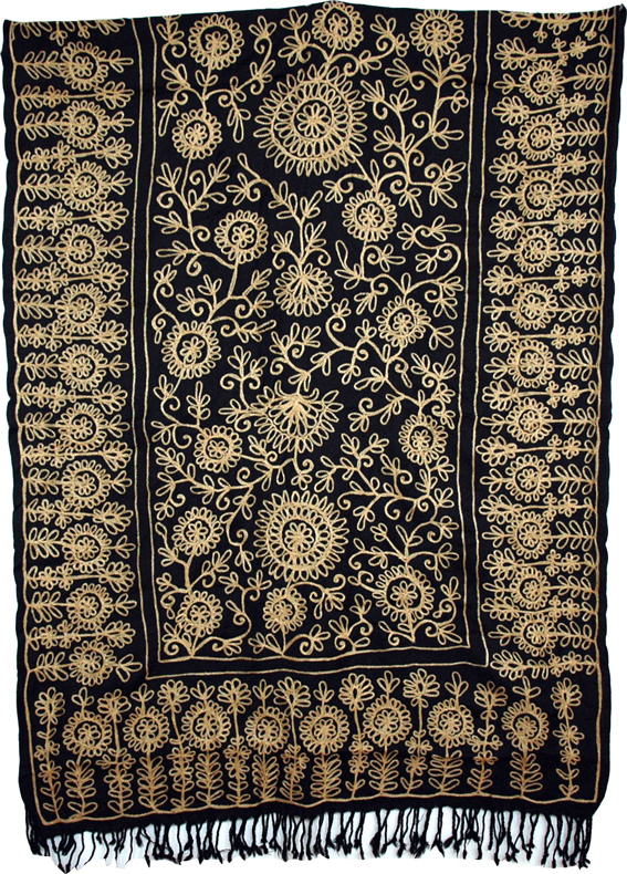 Black Embroidered Shawl Stole, The Hampton Embroidered Shawl