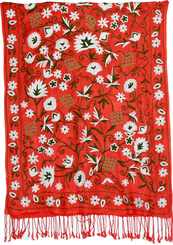 Orange Tangerine Embroidered Shawl Stole, The Cinnabar Embroidered Shawl