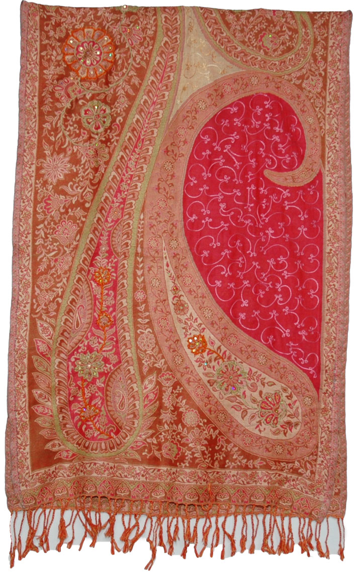 Indian Sequin Shawl in Classy Brown Red, Tuscany Embroidery Sequins Shawl Stoll