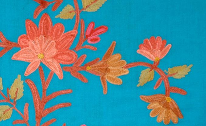 Bondi Blue Embroidered Stoll