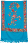 Blue Embroidery Indian Shawl [2595]