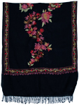 Black Floral Embroidered Stoll