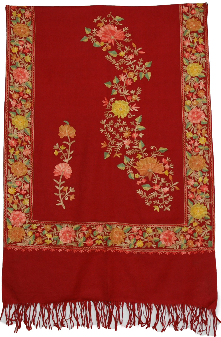 Red Embroidery Indian Shawl, Tamarillo Red Floral Embroidered Stoll