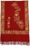 Red Embroidery Indian Shawl [2597]